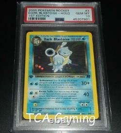 Psa 10 Gem Mint Foncé Blastoise 3/82 1ère Édition De L'équipe Rocket Holo Carte Pokemon