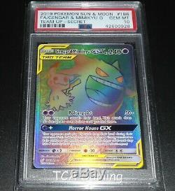 Psa 10 Gem Mint Gengar & Mimikyu Gx 186/181 Sm Font Équipe Hyper Rare Carte Pokémon