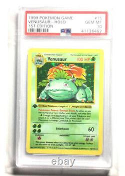Psa 10 Gem Mint Venusaur 15/102 1st Edition Base Set Shadowless Pokemon Card
