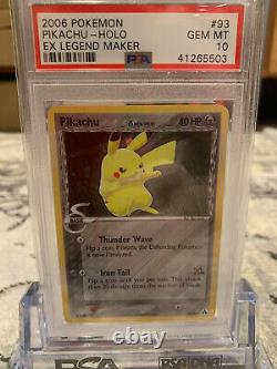Psa 10 Secret Rare Holo Pikachu Pokemon Ex Legend Maker Card 93/92