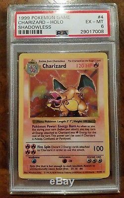 Psa 6 Ensemble De Base Charizard Shadowless Original Rare Ed Pokemon Carte Holo 1999 1er