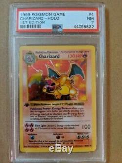 Psa 7 1ère Édition Shadowless Charizard Holo Rare 4/102 Nm Nouveau Cas! Carte Pokémon
