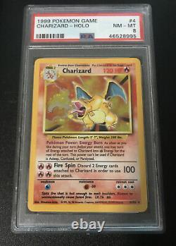 Psa 8 Nm-mt Charizard De Base Illimité Holo # 4 Carte Pokemon 1999 Wotc