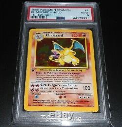 Psa 9 Mint Charizard 4/102 1ère Édition De Base Espagnol Holo Rare Carte Pokémon