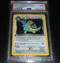 Psa 9 Mint Noir Dragonite 5/82 1ère Édition De L'équipe Rocket Holo Rare Carte Pokemon