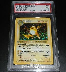 Psa 9 Mint Raichu 14/102 1ère Édition De Base Holo Rare Carte Shadowless Pokemon