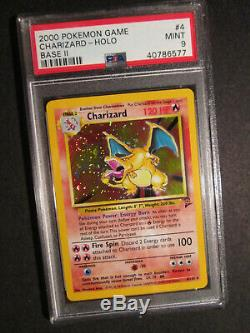 Psa-9 Pokemon Dracaufeu Carte Base II / 2 Set # 4/130 Rare Holo Withswirl! Graded Mint