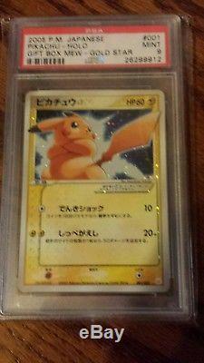 Psa 9 Rare Mint Carte Étoile Japonaise Pikachu 001/002 2005 Pokemon Promo