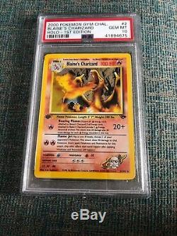 Psa10 Blaine's Charizard 1re Édition 2/132 Holo Gym Challenge Carte Pokemon Rare