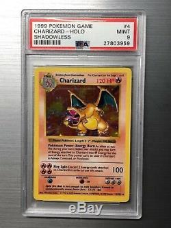 Psa9 Ensemble De Base Charizard Shadowless 4/102 1999 Carte De Pokémon Rare Holint De Menthe