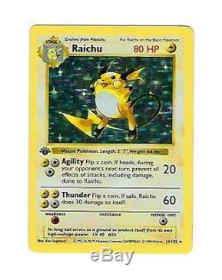 Raichu 14/102 Set De Base Sans Ombre Holo Foil Rare Carte De Pokemon 1ère Édition