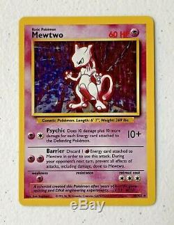 Rare! 1999 Mewtwo Assistants D'origine Carte Pokémon Holographiques Hologramme # 10/102 Ex