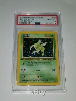Rare Carte Pokemon Holo 1ère Édition Scyther Jungle Set 10/64 Psa Original Foil