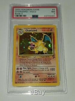 Rare Charizard Carte Pokémon Holo Psa Près De La Base Mint Set 2 Foil 4/130 Originale