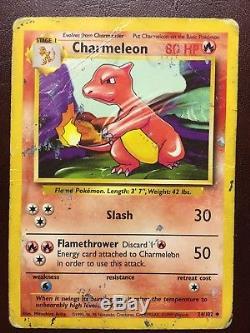 Rare Charmeleon Pokemon Card En Bon État 1995 24/102 1er Édition