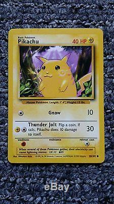 Rare Pikachu Pokemon Cards 58/102 Fond Violet & 60/64 Fond Vert
