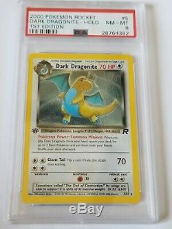 Rare Première Édition Carte Pokemon Rocket Team Dark Dragonite 5/82 Holo Psa 1re Édition