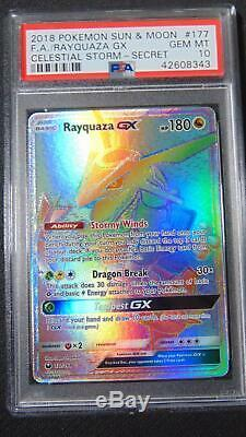 Rayquaza Gx 177/168 Celestial Storm (tempête Céleste) Psa 10 Gem Mint Holo Hyper Rare Carte Pokémon