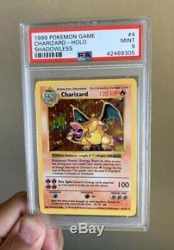 Shadowless Charizard Psa 9 Mint Rare Holo Graded Carte 1999 Kit De Base