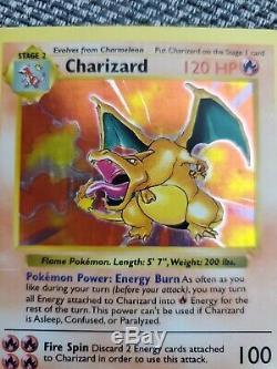 Shadowless Dracaufeu 4/102 Rare Holo Foil Set Base Carte Pokemon 1999