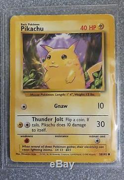 Super Pokémon Carte Pikachu 58/102 Fond Violet