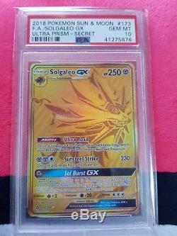 Vente! Psa 10 Pokemon Ultra Prisme Solgaleo Gx 173/156 Secret Rare Gold Card Neuf