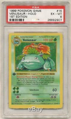 Venusaur 15/102 Psa Ex-mt 6 Holo Rare 1ère Édition De Base Carte Pokemon 3q6