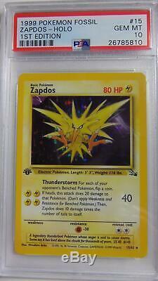 Zapdos 15/62 1er Fossile Édition Psa 10 Gem Mint Holo Rare Carte Pokemon